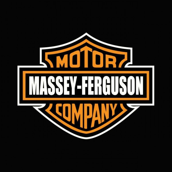Shirt Black With Logo Funny Harley Davidson Parody Massey Ferguson