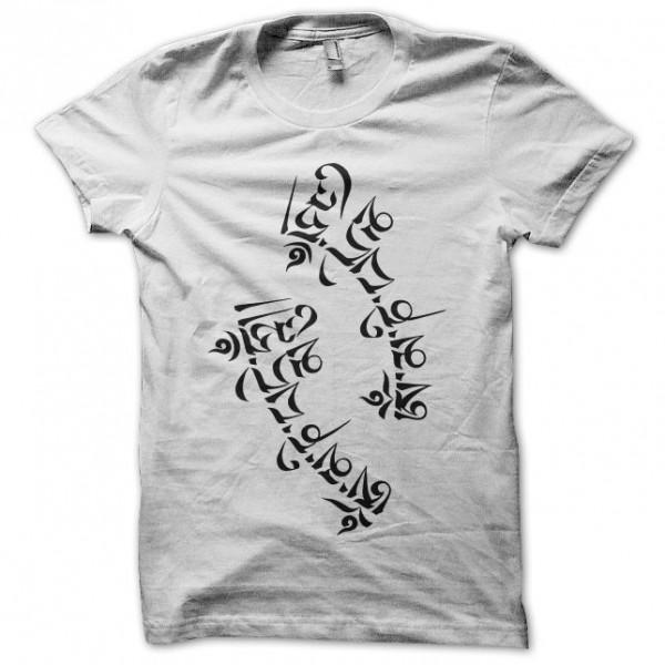 tee shirt tatouage calligraphie tib u00e9taine blanc