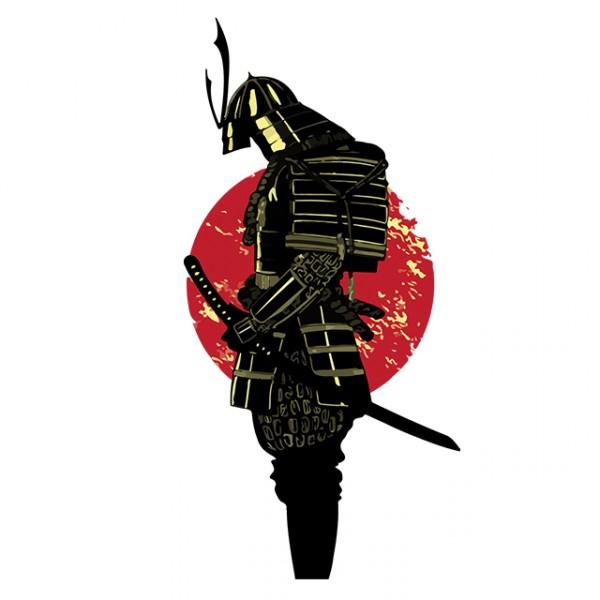 tee shirt tatouage samourai avec lev u00e9 de soleil blanc