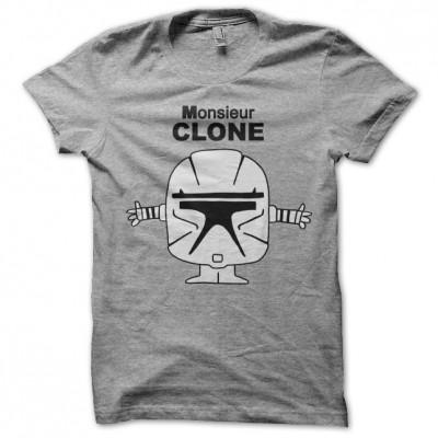 tee shirt monsieur madame clone starwars gris. Black Bedroom Furniture Sets. Home Design Ideas