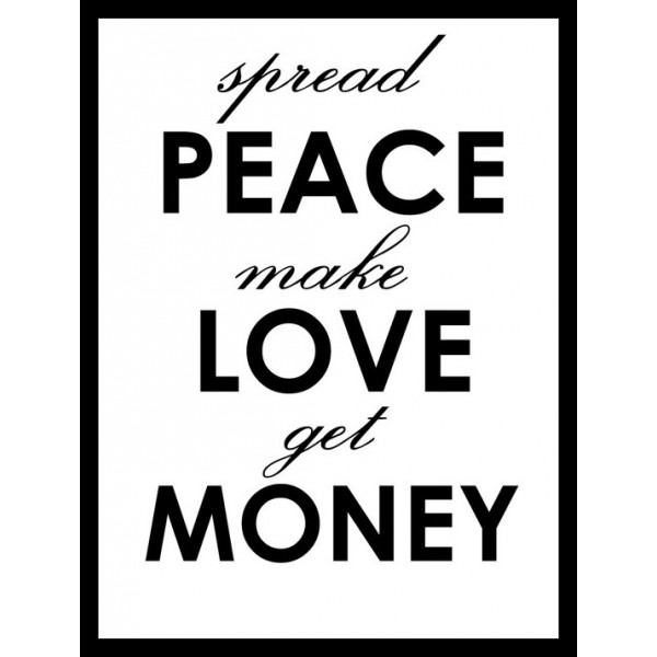 tee shirt peace love money noir