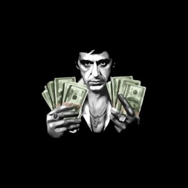Tee shirt Scarface Tony Montana billets dollars noir