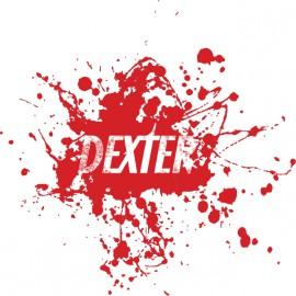 Camiseta del logotipo de Dexter en blanco mancha de sangre