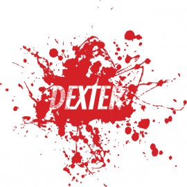 Dexter t-shirt logo on white blood stain