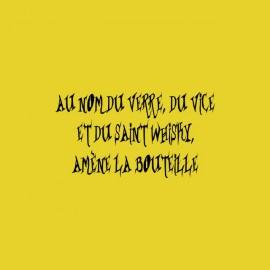 T-shirt Au nom du verre du vice et du saint whisky amène la bouteille yellow