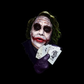 tee shirt le joker play cards noir