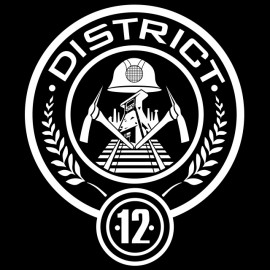Tee Shirt Hanger Games District 12 black blazon