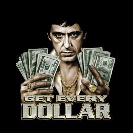 Tee Shirts Scarface Tony Montana conseguir cada dólar Negro