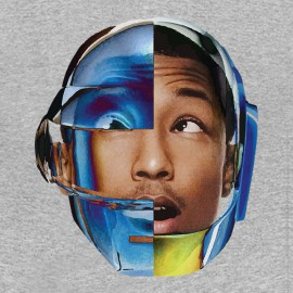 Pharrell Williams camisa gris con el casco daft punk