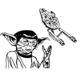 camisa blanca Yoda-Spock