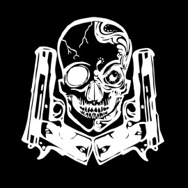 arma y del cráneo camiseta blanca en negro