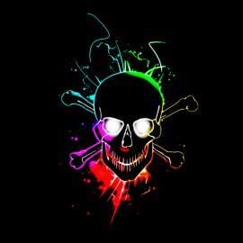 negro de la camiseta del cráneo que brilla intensamente