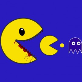 pac man tee shirt zombie blue