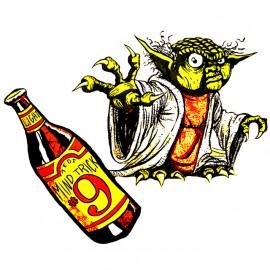yoda white shirt beer