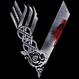 Tee Shirts Negro del logotipo de Vikingos