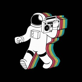 camisa de la música astronauta negro