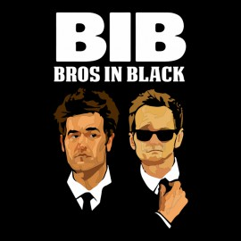 tee shirt Ted Mosby Barney Stinson Bros in Black noir