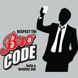 Tee shirt barney stinson respect the bro code gris
