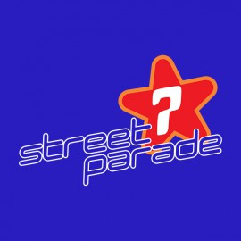 Camiseta azul desfile de la calle