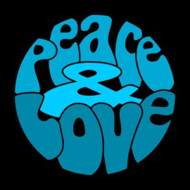 T-shirt Peace Love Blue on Black