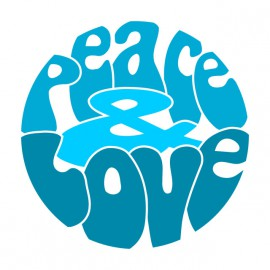 Tee Shirt Peace Love Blue on White