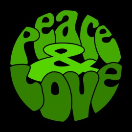 Peace Love Green t-shirt on Black