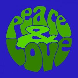 Tee Shirts Verde del amor de la paz en azul