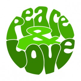 Tee Shirt Peace Love Green on White