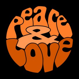 Tee Shirt Peace Love Orange on Black