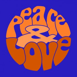 Tee Shirt Peace Love Orange on Blue