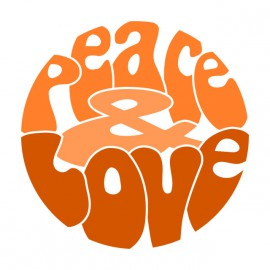 Tee Shirts Naranja amor de la paz en el blanco