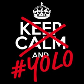 Tee Shirt Keep Calm YOLO noir