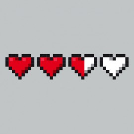 Heart Tee Shirt Life gamer Grey