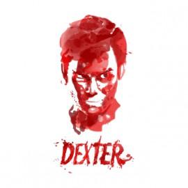 camisa de Dexter efectos de pintura blanca