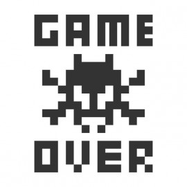 Game Over Tee Shirt Black on White