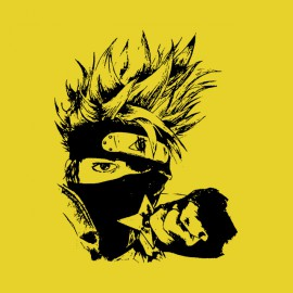 shirt kakashi naruto yellow artistic