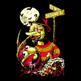 camisa de Pesadilla en la calle del sésamo negro