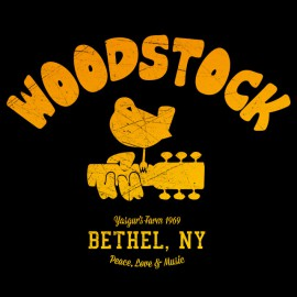 Tee Shirt University Woodstock 1969 noir