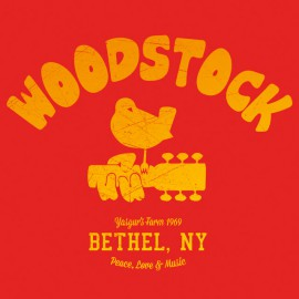 University Tee Shirt Woodstock 1969 red
