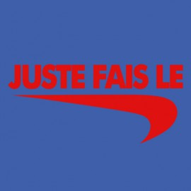 "Tee Shirt parody Nike just do it ""just do it"" red on dark blue"