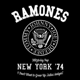 University Tee Shirt punk rock Ramones Black