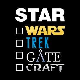 Tee Shirt Star wars trek gate craft Noir