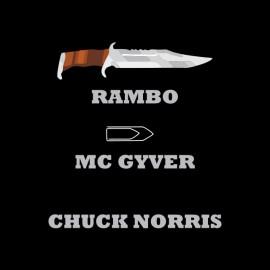 camisa de Chuck Norris vs rambo negro