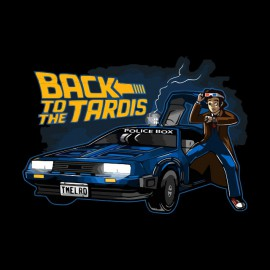 shirt back to the future black police box