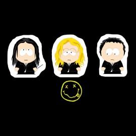 negro camiseta nirvana South Park