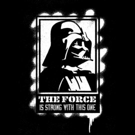 Tee Shirt Darth Vader is strength trong black stencil