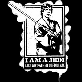 Tee Shirt Luke Skywalker Jedi black stencil