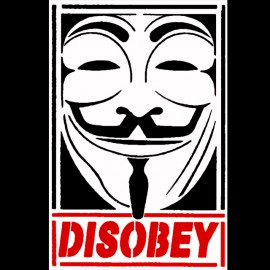 Negro Camiseta desobedece Anónimo