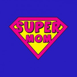 tee shirt supermom parodie superman bleu