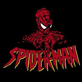 camisa de obra del hombre araña negro